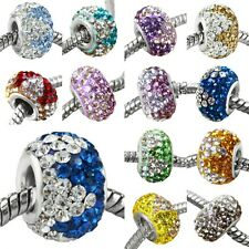 925 Sterling Silver Triangle Czech Crystal Big Hole European Charms Bead DIY
