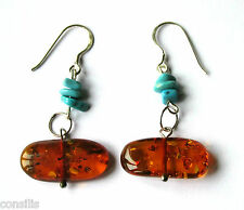 Genuine Baltic amber earrings with turquoise, 925 sterling silver / gift box