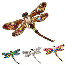 Women's Dragonfly Crystal Brooch Lovely Rhinestone Scarf Pin Jewelry Engaging