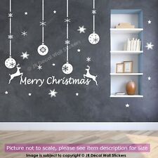 Merry Christmas Baubles Wall Stickers Snowflake Reindeer Xmas Shop Decal Decor