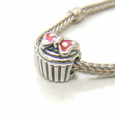 Authentic Genuine Sterling Silver Red Enamel Minnie Cupcake Parks charm