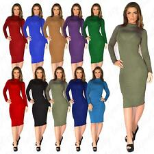 Womens Celebrity Inspired Turtle Polo Neck Long Sleeve Ladies Bodycon Midi Dress