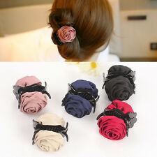 Fashion Korean Womens Ribbon Rose Flower Bow Jaw Clip Barrette Hair Claw Gift