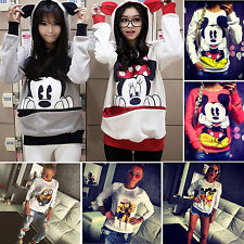 Womens Ladies Hoodies Sweatshirt Jumper Tops Mickey Minnie Long Sleeve Tracksuit