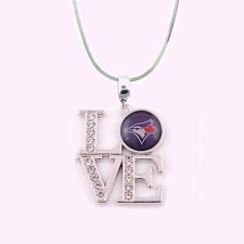MLB Toronto Blue Jays 925 Sterling Silver Team Love Necklace With Rhinestones