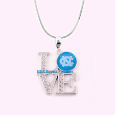NCAA UNC Tar Heels 925 Sterling Silver Team Love Necklace With Rhinestones