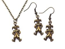 Clown Necklace Earring Antique Bronze Miniature Jewelry Set Retro Charm Handmade