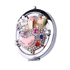 Foldable Rhinestone Beads Pocket Mirror Makeup Purse Mirror Cosmetic Mirror