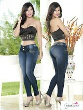 Dark Blue Jeans with Gold Appliques