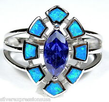 0.76 ct  Blue Fire Opal Inlay 925 Sterling Silver & Tanzanite Ring size 6 - 9