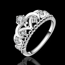Beauty Women 925 Silver Plated Pretty Crown Lady Crystal Ring Princess Ring
