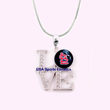 MLB St. Louis Cardinals 925 Sterling Silver Team Love Necklace With Rhinestones