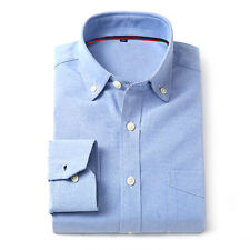 Men's Business Oxford Button Dress Shirts Fashion Cotton Solid Striped Shirts