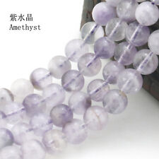 "Natural Round Amethyst Jewelry Loose Gemstone Stone Beads Strand 15""  4-12mm"