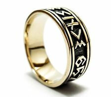 Norse Rune Viking Ring, Medieval Nordic Norse Runic Pagan Viking Ring in Brass