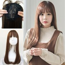 Womens Natural Color 55cm Long Straight Clip Hair Extension Hairpiece With Bang