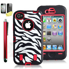 Shockproof Hybrid Hard Zebra Cover Rugged Protective Case For Apple iPhone 4S 4