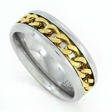 Stainless Steel with gold plated rope accent men ring or Wedding Band