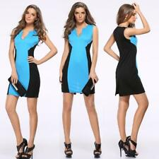 Women's Figure Flattering Solid V-Neck Wiggle/Pencil Cocktail Sleeveless Dress
