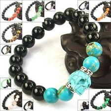 New Design Hand Carved Skull Stretchy Bracelet Natural Energy Stone Beads 10mm