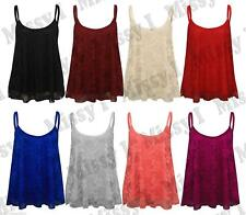 Womens Ladies Foral Lace Spaghetti Strap Swing Vest Tank Top T-shirt 8-22