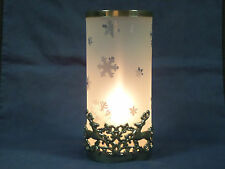 REINDEER SNOWFLAKE CHRISTMAS CANDLE HOLDER Gorham silver frosted glass large 10""
