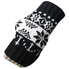 Women Winter Knit Snowflake Fingerless Gloves Mitten Arm Warmers Handwarmers