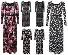 NEW WOMENS LADIES FLORAL LONG SLEEVE PRINTED TOGA PUFFBALL BALLOON MAXI DRESS