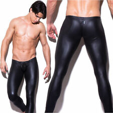 Sexy Mens Long Pants Shiny Faux Leather Club Dance Pants Skinny Muscle Tights