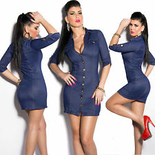 New Top Women Clubbing Mini Dress Sexy Ladies Blue Jeans Look Shirt Size 10 12