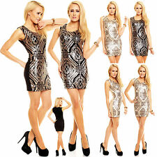 New Top Women Clubbing Mini Dress Sexy Ladies Sequins Party Wear Size 6 8 10 12