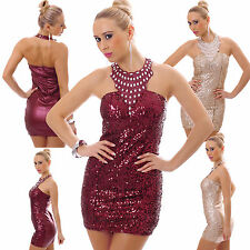 New Top Women Clubbing Sequins Mini Dress Sexy Ladies Party Wear Size 8 10 12 S