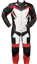 2pc Motorcycle Racing Riding Leather Track Suit w/ Armor New Red/White/Black