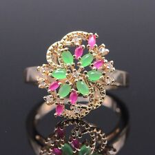 Unique Pretty Emerald Ruby Flower Ring 18k Gold Plated Pretty Ring Size 6/7/8/9
