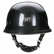 Dot Approved German Style Carbon Fiber Motorcycle Bike Cruiser Half Face Helmet