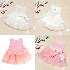 Baby Girls Infant Sleeveless Lace Floral Dress Bowknot Birthday Party Dress 0-2Y