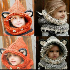 Baby Kids Winter Animal Fox Knitting Hat Hooded Scarf Earflap Knit Caps Wool Hat