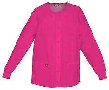 Scrubs Dickies Snap Front Warm-Up Jacket 86306 HPKZ Hot Pink Free Shipping
