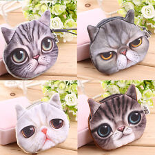Hot Cute Cat Face Zipper Case Coin Purse Wallet Makeup Bag Pouch High Quality BN