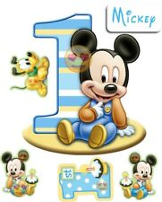 EDIBLE PRECUT ICING 1ST BIRTHDAY DISNEY MINNIE MICKEY MOUSE CAKE CUPCAKE TOPPERS