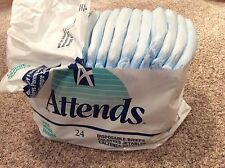 12 Vintage Attends diapers briefs size large  1995 P&G Plastic Backed FREE SHIP