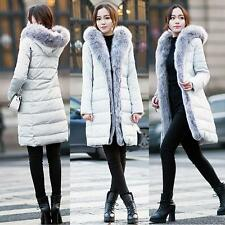Women's Long Fox Fur Collar Hooded Zipper Winter Feather Down Coat/Jacket Parka