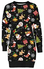 New Womens Christmas Gift Snowman Ginger Bread Thermal Knit Tunic Tops 4-18