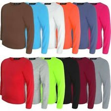 Kids Basic Top Plain Long Sleeve Boys Girls T-Shirt Tops Crew Uniform Tee 3-14Y