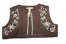 Andrew & Co Womens Brown Embroidered Blue Pink Floral Cropped Vest Shrug Medium