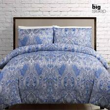 Kingston Blue Microfibre Quilt Doona Cover Set - SINGLE DOUBLE QUEEN KING
