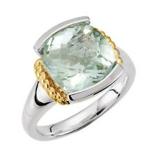 Green Quartz Ring in Sterling Silver and 14K Yellow Gold