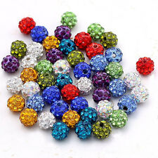 Hot Wholesale 20Pcs Charm Czech Crystal Rhinestones Pave Clay Round Spacer Beads