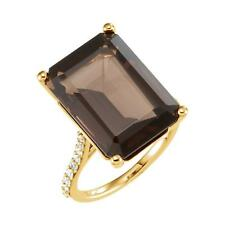 Smoky Quartz and 0.25 CTW Diamond Ring 14k Rose, Yellow or White Gold Size 7