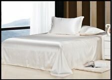 IVORY SOLID SATIN SILKY UK SIZE FITTED/ SHEET SET/DUVET COVR SET/BED SKIRT